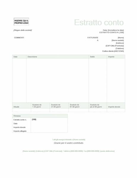 Estratto conto fatturazione (set di schemi Verde)