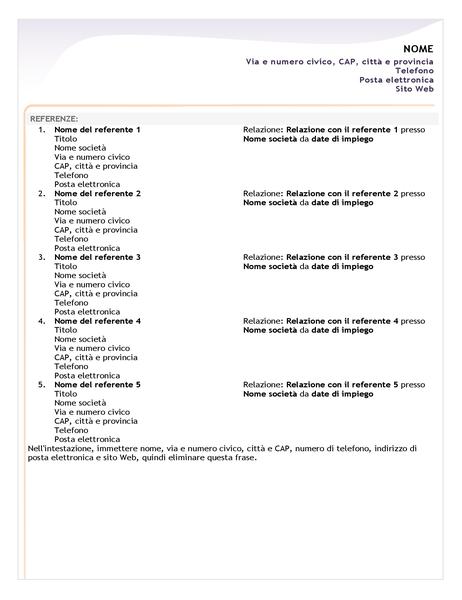Foglio di referenze per curriculum semplice