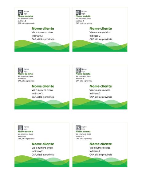 Etichette di spedizione (schema Onde verdi, 6 per pagina)