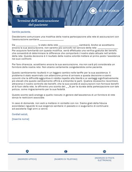 Lettera di scadenza dell'assicurazione assistenza sanitaria