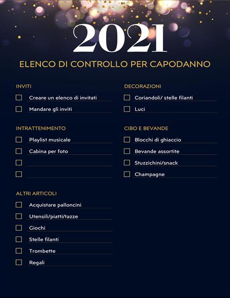 Lista di controllo per la festa dell'ultimo dell'anno