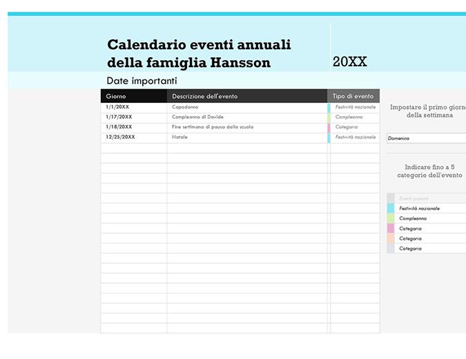 Calendario eventi familiari