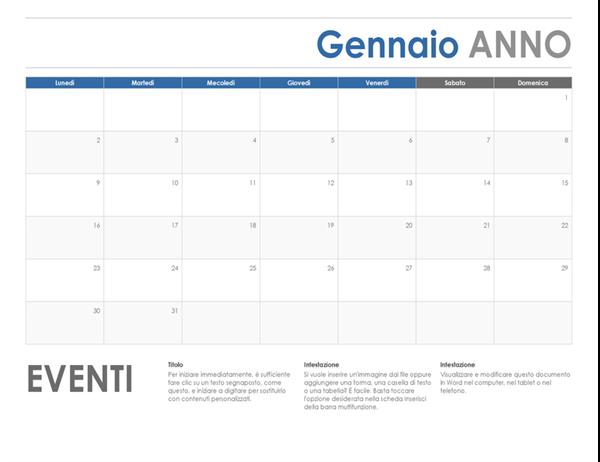 Calendario orizzontale (dalla domenica)
