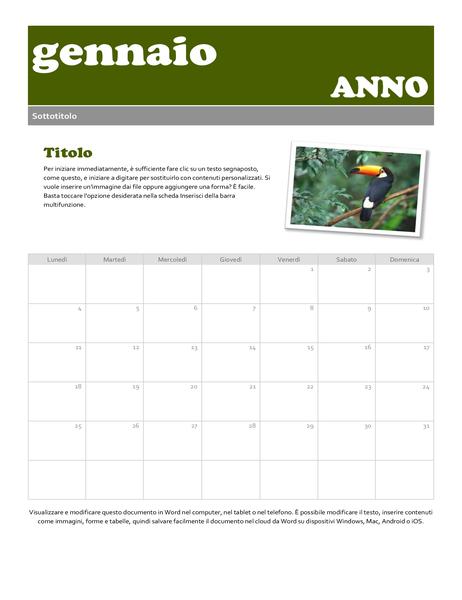 Snapshot del calendario