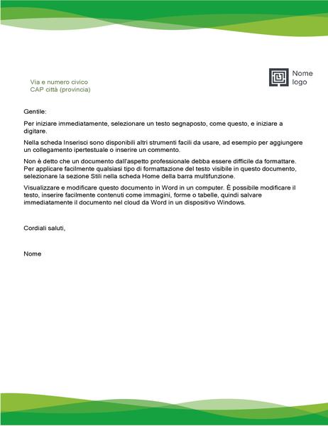 Intestazione lettera (schema Onde verdi)