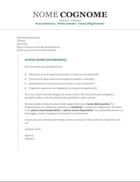 Lettera di presentazione per curriculum cronologico