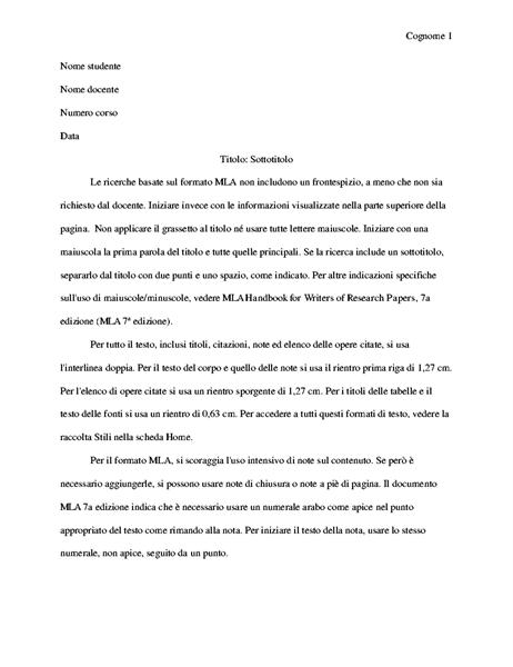 Documento in stile MLA