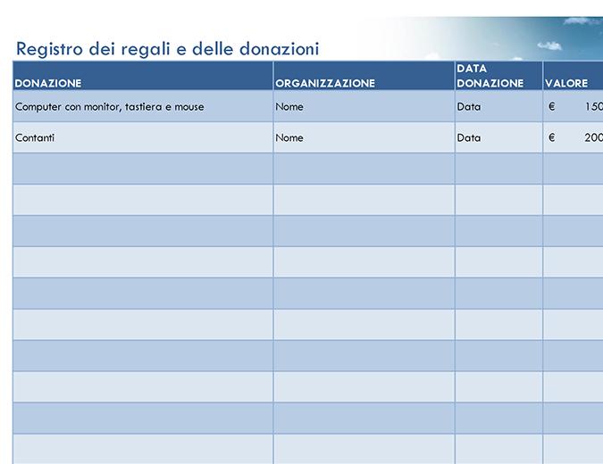 Registro dei regali e delle donazioni (semplice)
