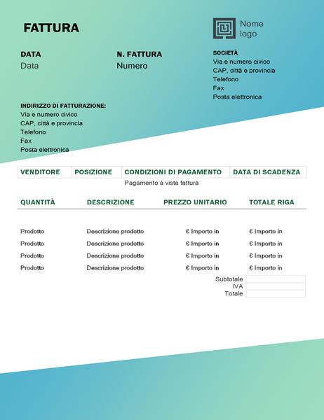 Fattura per servizi (schema Sfumature di verde)