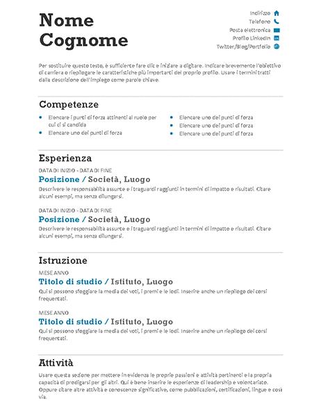 Curriculum bilanciato (schema Moderno)