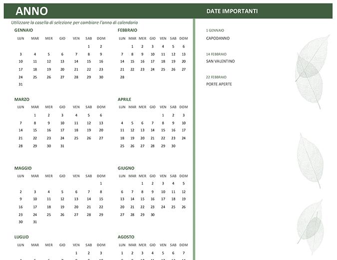 Calendario aziendale (qualsiasi anno, lun-dom)