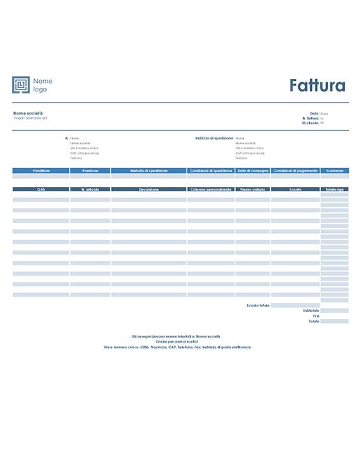 Fattura di vendita (schema Semplice blu)