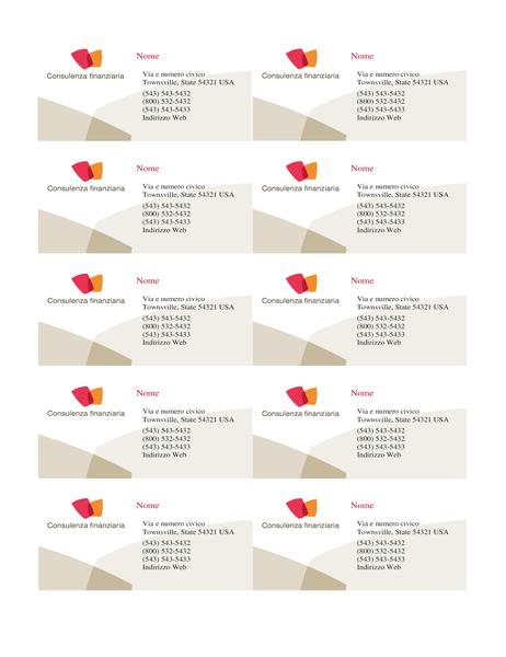 Biglietto da visita finanziario (10 per pagina)