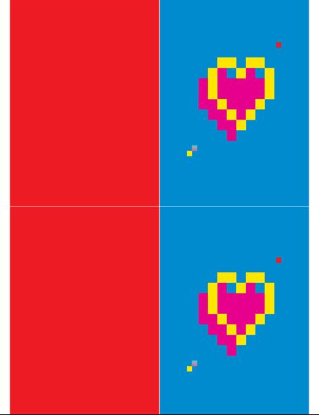 Biglietto di S. Valentino con cuore a pixel