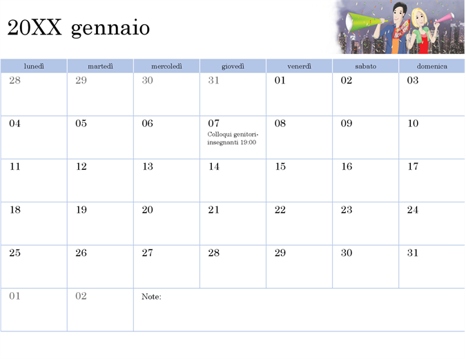 Calendario accademico illustrato