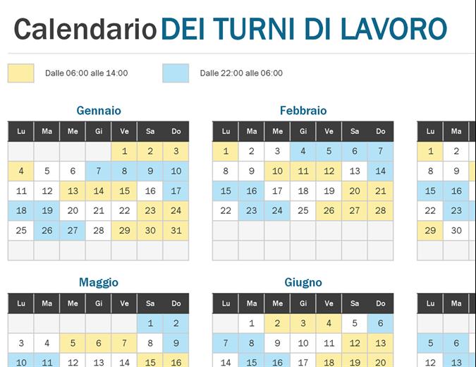 Calendario annuale dei turni di lavoro a colpo d'occhio