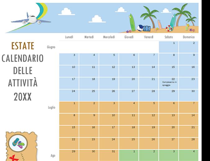 Calendario delle attività estive