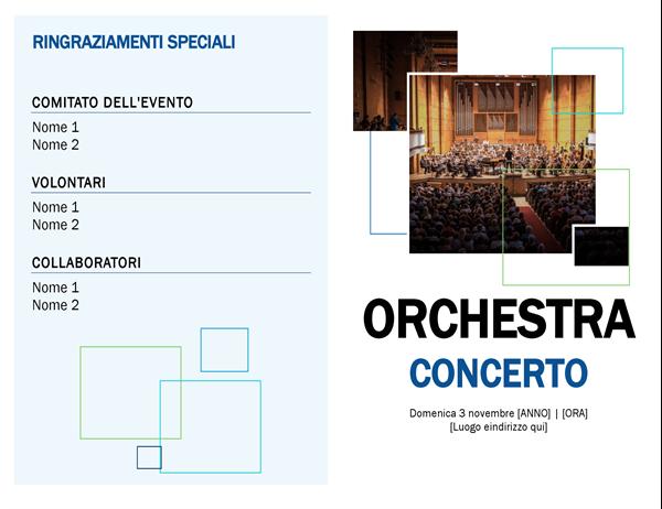 Programma di concerto della band
