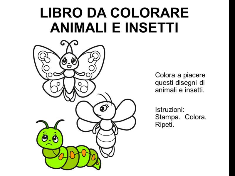 Libro da colorare con animali e insetti