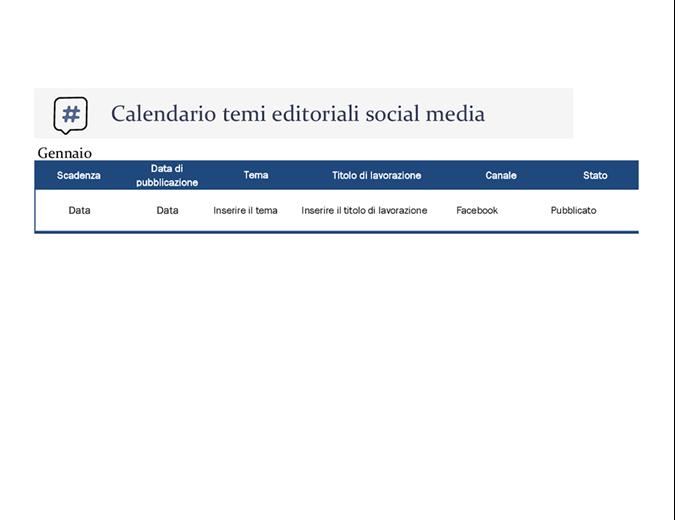 Calendario a tema editoriale per social media