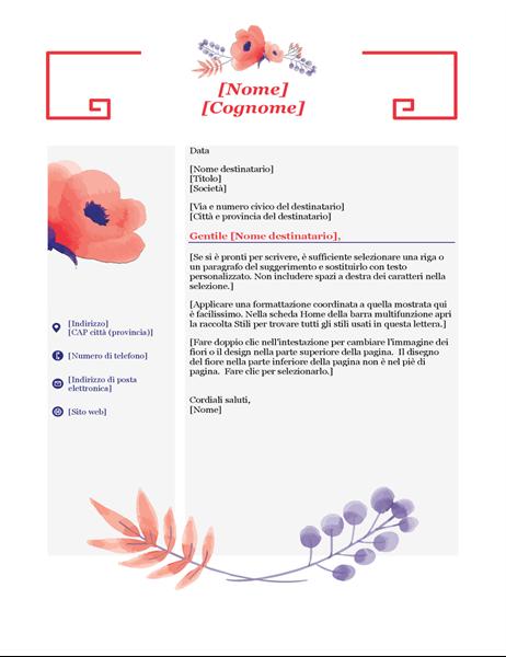 Lettera di presentazione con fiori rosa