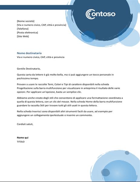Carta intestata con sfere blu
