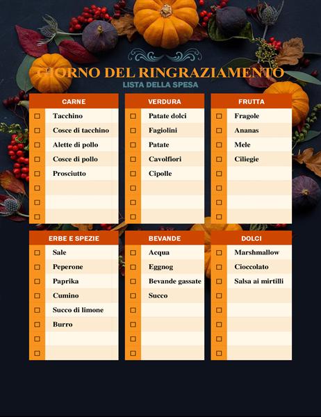 Lista della spesa per il Giorno del ringraziamento con frutta e ortaggi