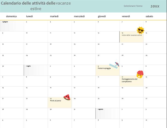 Calendario delle vacanze estive