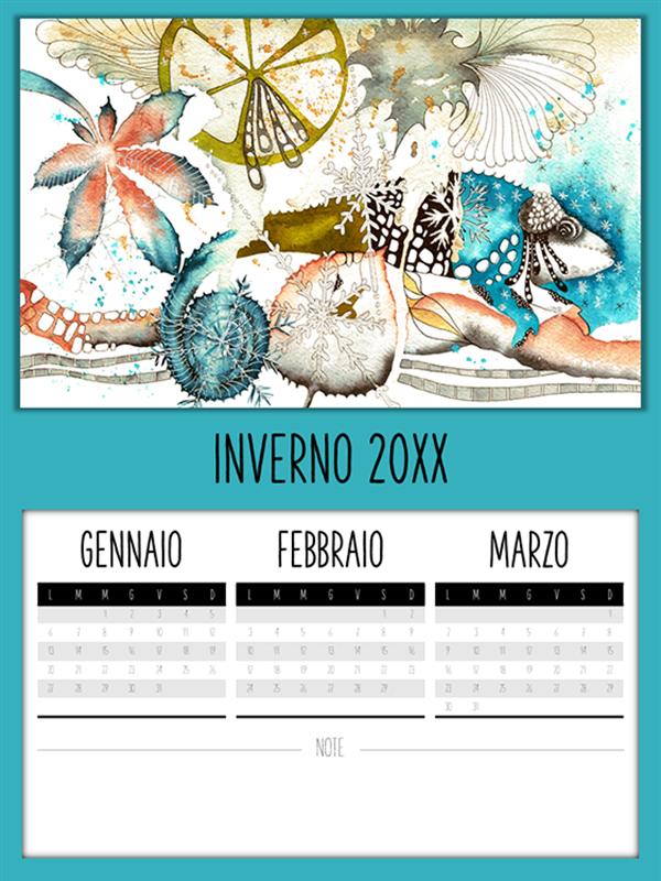 Calendario trimestrale con camaleonti
