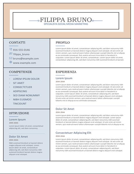 Curriculum in colonne