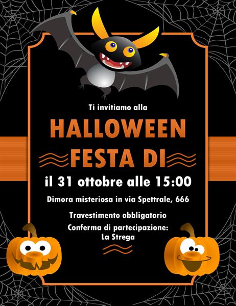 Invito per Halloween con pipistrelli