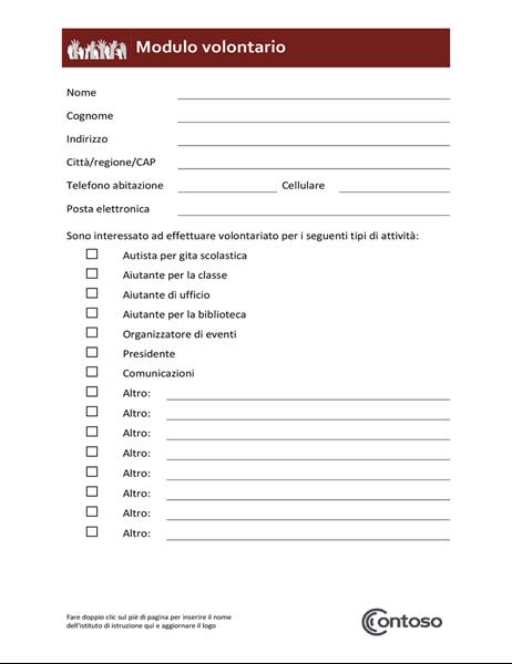 Modulo per volontariato