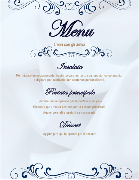 Scorrere il menu della cena della festa