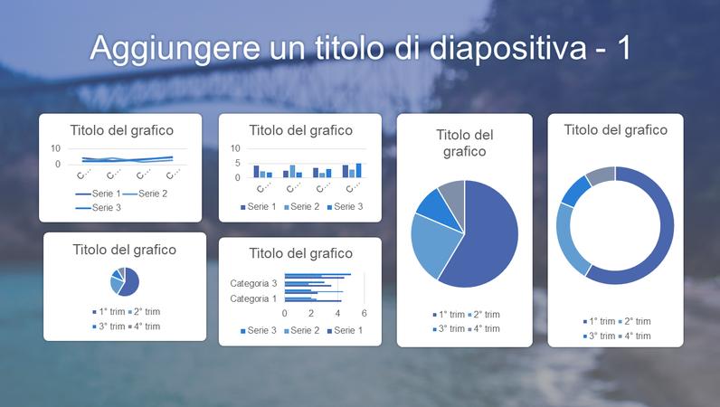 Dashboard con 6 grafici di colore blu