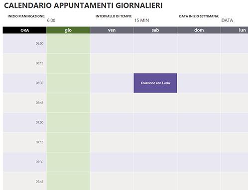 Calendario appuntamenti giornalieri