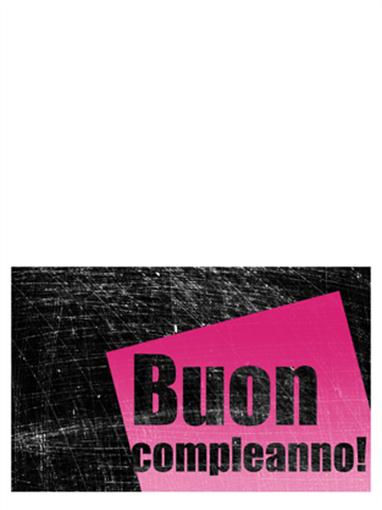 Biglietto di compleanno su sfondo graffiato (rosa, nero, pieghevole)