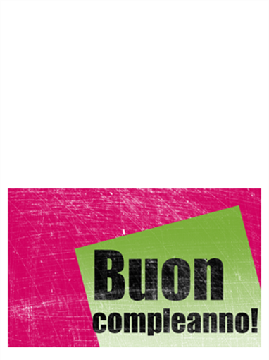 Biglietto di compleanno su sfondo graffiato (rosa, verde, pieghevole)