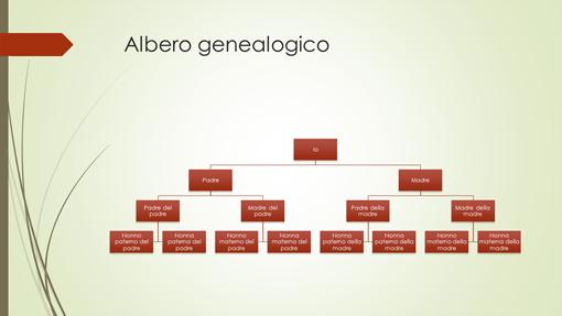 Albero genealogico (verticale, verde, rosso, widescreen)