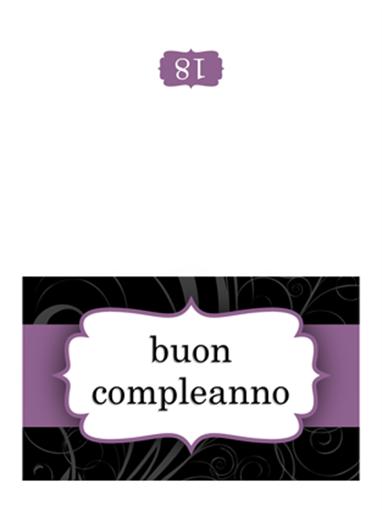 Biglietto di compleanno (design con nastro viola, pieghevole)