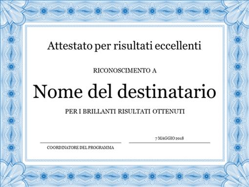 Attestato per risultati eccellenti (bordo blu formale)