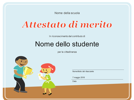Certificato di riconoscimento (studenti scuola elementare)