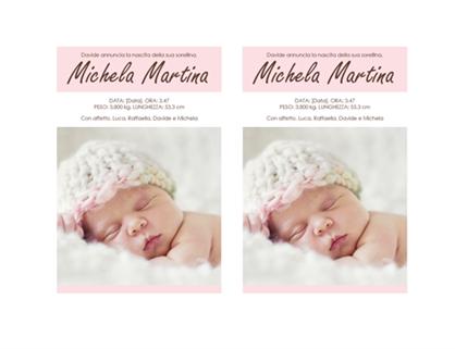 Annuncio di nascita bambina