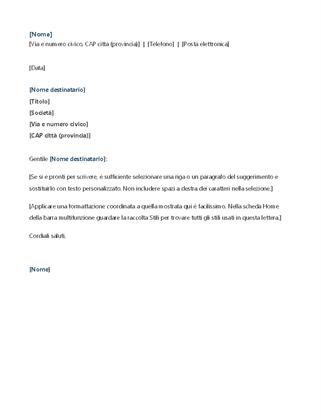 Lettera di presentazione per domanda di tirocinio