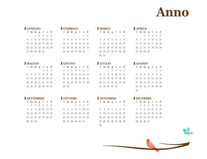 Calendario annuale 2018 (lun-dom)