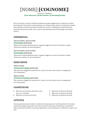 Curriculum cronologico (schema Moderno)