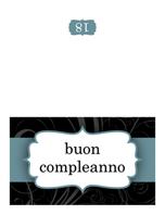 Biglietto di compleanno (schema con nastro blu, pieghevole)