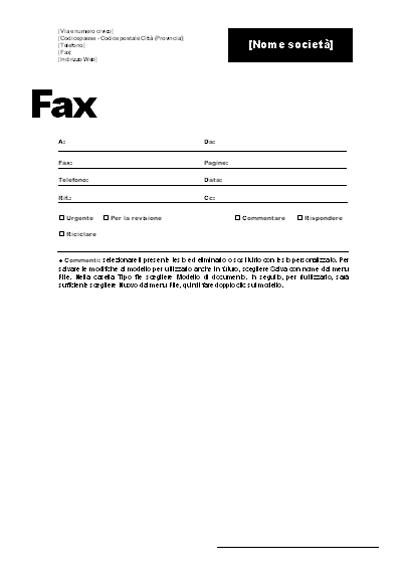 Copertina per fax (tema professionale)