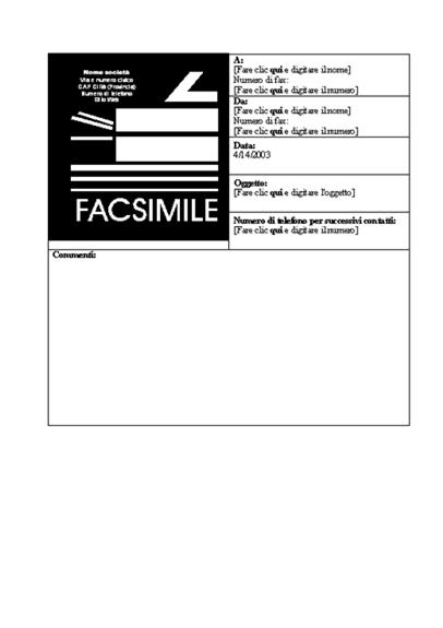 Copertina fax aziendale
