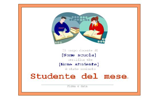 Certificato semplice di Studente del mese