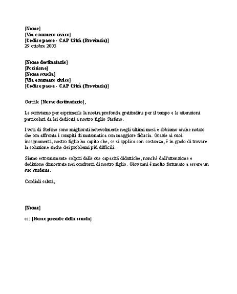 Lettera di ringraziamento a un insegnante (scuola elementare)